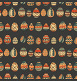 seamless pattern with doodle easter eggs vector image vector image