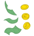 Set of cartoon greenback and coins vector image vector image