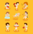 set of cupid angels characters for valentine day vector image