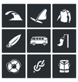 Set of Surfing and Windsurfing Icons Wave vector image vector image