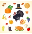 Set of Thanksgiving icons in flat style vector image vector image