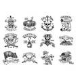 set pirate labels corsairs skull at anchor vector image vector image