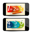 six step infographic layout on mobile phone vector image vector image