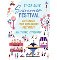summer festival promo poster in flat vector image