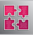 the puzzle infographics jigsaw four steps puzzle vector image