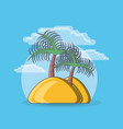 tropical island with palm tree beach vacation vector image