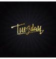 Tuesday - Calligraphic phrase written in gold vector image