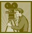 Vintage movie television film camera director vector image vector image