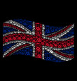 waving uk flag collage of chemistry icons vector image