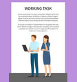 working task frame banner vector image