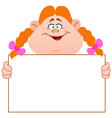redhead girl with sign vector image