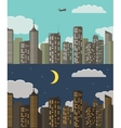 Day and night Urban Landscape Summer City vector image