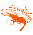 shrimp cartoon with text for food flavor vector image