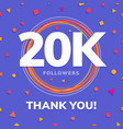 20k followers social sites post greeting card vector image vector image