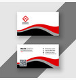 abstract red wavy business card design vector image vector image