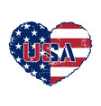 american flag heart grunge vector image vector image