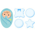 baby boy and label design in blue color vector image