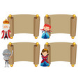 banner templates with knight and princess vector image vector image