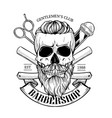 barbershop logo angry sticker with skull vector image vector image