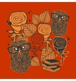 Books and owls on the floral background vector image