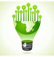 Bulbs on half earth bulb vector image vector image