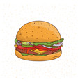 burger with cheese cucumber cutlet lettuce vector image