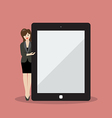 Business woman pointing to the screen of a tablet vector image