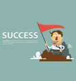 Businessman planting success flag vector image vector image