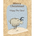 Cardboard Christmas card with sheep vector image vector image