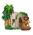 Caveman and house vector image vector image