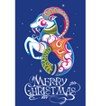 Christmas background with decorative goat vector image vector image