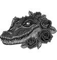 crocodile head with roses vector image vector image