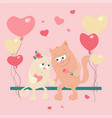 cute cartoon cats in love on a swing with balloons vector image vector image