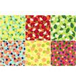 detox fruit ingredients set seamless patterns vector image