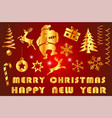 festive merry christmas with decorated item vector image