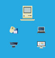 flat icon computer set of computer mouse display vector image vector image
