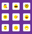 flat icon gesture set of cross-eyed face cheerful vector image vector image