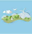 flat landscape design with windmill and sporting vector image