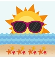 funny sun with sunglasses stars beach vector image