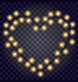 garland in form shape heart with glowing vector image vector image