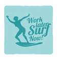Grunge summer surfing sports logo with girl
