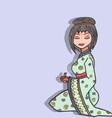 Hand drawn geisha set vector image vector image