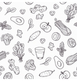 Hand drawn outline vegetables seamless pattern in vector image vector image
