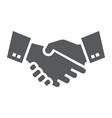 handshake glyph icon finance and banking vector image vector image