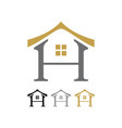 letter h oriental house shape icon symbol design vector image