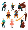 male and female musicians characters set people vector image