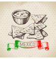 Mexican traditional food background with nachos vector image vector image