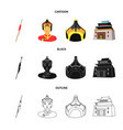 military spear mongolian warrior helmet vector image