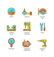 minimal lineart flat industrial icons set vector image