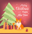 new year banner with christmas tree dog and gifts vector image vector image